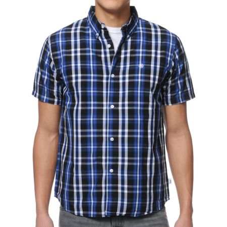 Stussy Perkins Blue Plaid Short Sleeve Button Up Shirt