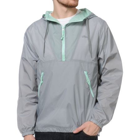Stussy Nylon Hooded Grey & Mint Windbreaker
