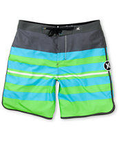 Hurley Phantom Block Party Warp Blue & Green 19 Board Shorts