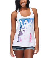 WeSC Girls Aquatic Overlay White Racerback Tank Top