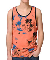Volcom Hula Print Light Orange Tank Top