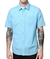Volcom Why Factor End Blue Short Sleeve Button Up Shirt