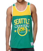 NBA Mitchell & Ness Sonics Green Color Blocked Tank Top