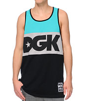 DGK Internationaly Known Teal, Grey & Black Tank Top