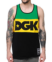 DGK Internationally Known Green, Yellow, & Black Tank Top