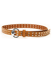 Super Trader Studded Brwon Skinny Belt