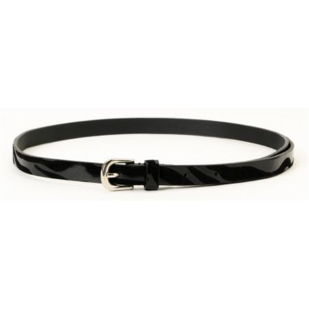 Super Trader Animal Embossed Black Skinny Belt