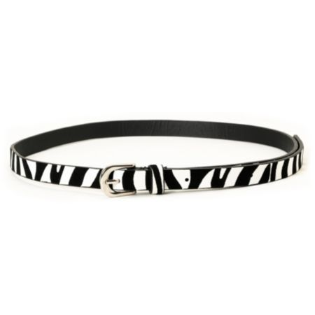 Super Trader Zebra Print Black & White Skinny Belt