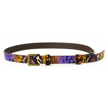 Super Trader Purple Snake Print Skinny Belt