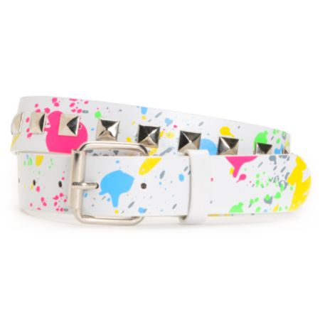 Super Trader White Paint Stud Belt