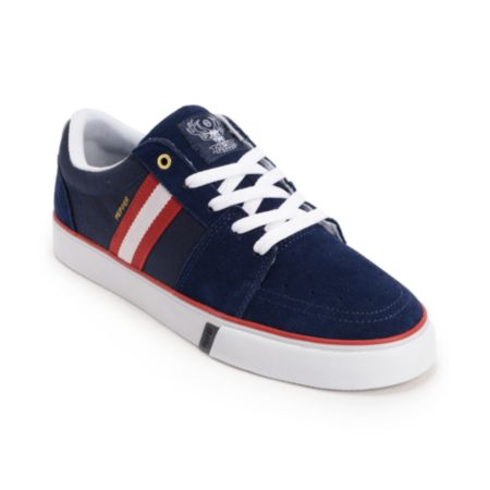 Huf Pepper Pro Navy, Red, & White Suede Skate Shoe