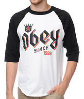 Obey Bar King Black & White Baseball Tee Shirt