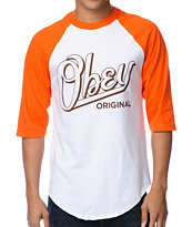 Obey Encore Orange & White Baseball Tee Shirt
