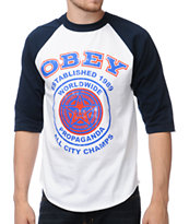 Obey All City Champs Navy & White Baseball Tee Shirt