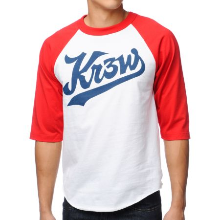 KR3W Ballpark White & Red Baseball Tee Shirt