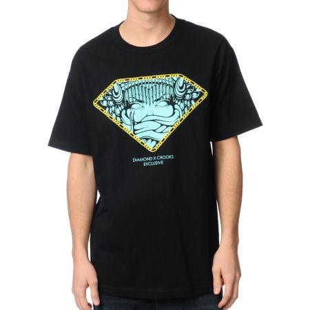 Diamond Supply x Crooks & Castles Exclusive Black Tee Shirt