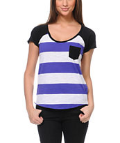 Zine Girls Purple & White Stripe Tee Shirt