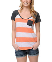 Zine Girls Fresh Salmon Stripe Tee Shirt
