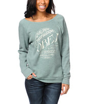 Obey Girls Quality Heather Green Crew Neck Sweatshirt