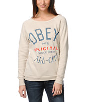 Obey Girls All City Beige Crew Neck Sweatshirt