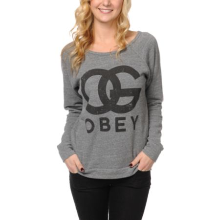 Obey Girls OG Forever Heather Grey Crew Neck Sweatshirt