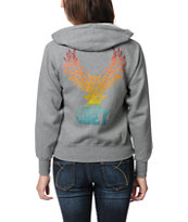 Obey Girls Take Flight Heather Grey Zip Up Hoodie