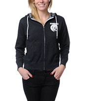 Obey Girls Moon Charcoal Grey Zip Up Hoodie