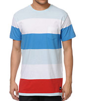 Imperial Motion Rufus Mint, White & Blue Stripe Pocket Tee Shirt