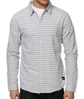 Imperial Motion Dill Light Grey Stripe Button Up Shirt