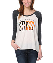 Stussy Girls California Charcoal Baseball Tee Shirt