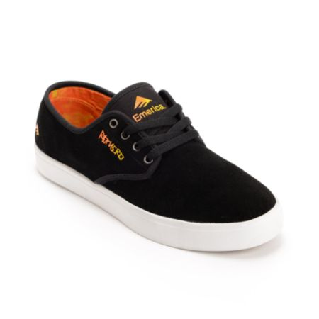 Emerica Laced Leo Romero Black & Orange Suede Skate Shoe