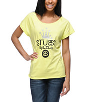 Stussy Girls Crown NYLTLA Neon Yellow Tee Shirt