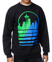 Casual Industrees Seattle Shadow Skyline Black Crew Neck Sweatshirt