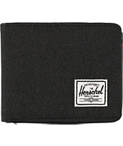 Herschel Hank All Black Canvas Bifold Wallet