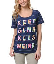 Glamour Kills Keep GLMR KLLS Weird Navy Stripe Tee Shirt