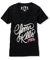 Glamour Kills With Honor Black V-Neck Tee Shirt