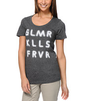 Glamour Kills Name In Lights Heather Black Tee Shirt