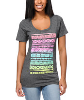 Glamour Kills Aztec Spectrum Heather Black Tee Shirt