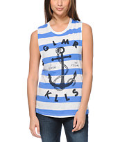 Glamour Kills Land Locked Blue Striped Muscle Tank Top