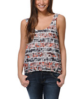 Hurley Girls Aria White & Coral Tank Top