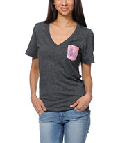 Glamour Kills Space Pocket Heather Black V-Neck Tee Shirt