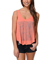 RVCA Letterpress Coral Crop Tank Top