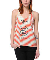 Stussy Girls Striped Split Orange & Cream Tank Top