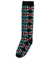 Stance Girls Santa Fe Black Knee High Socks