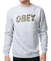 Obey Camo Font Heather Grey Crew Neck Sweatshirt