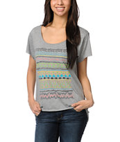 Stussy Girls Tribe Heather Grey Scoop Neck Tee Shirt