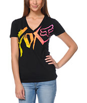 Fox Girls Get Up Black V-Neck Tee Shirt