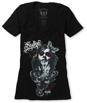 Sullen Girls Player Black V-Neck Tee Shirt