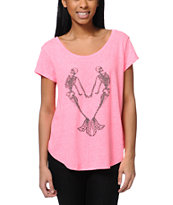 Billabong You Or Me Pink Scoop Neck Tee Shirt