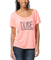 Billabong Duuude Coral Scoop Neck Tee Shirt